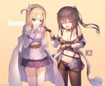 2girls :d ^_^ bangs bare_shoulders beige_background black_gloves blonde_hair blue_eyes blue_hairband blue_jacket blue_skirt breasts brown_hair brown_legwear cape character_name cleavage closed_eyes closed_eyes closed_mouth commentary_request eyebrows_visible_through_hair facing_viewer girls_frontline gloves hair_between_eyes hairband highres jacket k-2_(girls_frontline) lee_seok_ho long_hair medium_breasts multiple_girls navel off_shoulder one_side_up open_mouth panties panties_under_pantyhose pantyhose pleated_skirt showgirl_skirt signature skirt smile striped suomi_kp31_(girls_frontline) tears thigh-highs thighband_pantyhose underwear vertical-striped_skirt vertical_stripes very_long_hair white_cape white_gloves white_jacket white_legwear