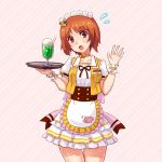 1girl :o alternate_costume anglerfish apron bangs bear_hair_ornament blush boko_(girls_und_panzer) bow brown_eyes brown_hair coco's commentary_request cowboy_shot diagonal-striped_background diagonal_stripes drinking_straw emblem eyebrows_visible_through_hair flustered flying food frilled_apron frilled_skirt frilled_sleeves frills girls_und_panzer glass hair_ornament hand_up head_tilt highres holding ice_cream ice_cream_float jacket large_bow layered_skirt light_frown looking_at_viewer maid_headdress miniskirt name_tag nishizumi_miho open_mouth pink_background pink_bow puffy_short_sleeves puffy_sleeves shirt short_hair short_sleeves skirt sleeveless_jacket solo standing striped striped_background takapachi thigh_gap tray vest waist_apron waving white_apron white_shirt white_skirt wristband yellow_jacket