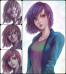 1girl aqua_shirt commentary english_commentary lips looking_at_viewer open_clothes open_shirt parted_lips pink_eyes pink_lips purple_hair shirt short_hair solo speedpaint tan_shirt