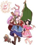 2girls ;d animal_ears bandanna bandolier barefoot black_hair blouse boots braid carrot carrot_necklace commentary_request eyebrows_visible_through_hair flag flagpole floral_print frills grin gun hair_between_eyes hat highres inaba_tewi jewelry layered_skirt long_hair mefomefo mexican_flag mexico multiple_girls necklace one_eye_closed open_mouth puffy_short_sleeves puffy_sleeves purple_hair rabbit rabbit_ears red_eyes reisen_udongein_inaba rifle sash short_hair short_sleeves simple_background skirt smile sombrero spanish_commentary touhou weapon white_background