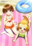 2girls :d absurdres animal_ears bare_legs bare_shoulders barefoot beach_towel bikini bikini_skirt blue_innertube blush body_blush bow bow_bikini breasts brown_eyes brown_hair collarbone day eyebrows_visible_through_hair fingernails gradient_hair green_bikini hand_on_floor hand_on_own_chest highres innertube light_brown_hair looking_at_viewer lying magazine_scan medium_breasts megami multicolored_hair multiple_girls nakai_chitose navel official_art on_stomach open_mouth orange_bikini outdoors pink_towel raccoon_ears raccoon_tail red_bow sand scan shigaraki_koyuzu shiny shiny_hair short_hair sitting smile striped_towel sunlight swimsuit tail taketani_kyouko toes towel wariza yuragisou_no_yuuna-san