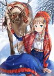 1girl absurdres antlers blue_eyes brown_hair cherim dress fence forest gloves hair_ribbon hat highres nature original reindeer ribbon sami_clothes sitting snow traditional_clothes