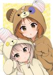 2girls bandage bangs bear_hood boko_(girls_und_panzer) character_name closed_mouth commentary_request dutch_angle frown girls_und_panzer highres light_brown_hair looking_at_viewer multiple_girls nishizumi_miho onesie open_mouth pajamas ruruepa shimada_arisu short_hair upper_body v-shaped_eyebrows zipper zipper_pull_tab