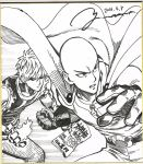 2boys black_sclera cape clenched_hand commentary_request dated earrings fire frown genos gloves jewelry male_focus marker_(medium) monochrome multiple_boys murata_yuusuke one-punch_man saitama_(one-punch_man) serious signature stud_earrings traditional_media translation_request zipper