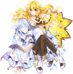 2girls absurdres ankle_boots bangs black_legwear blonde_hair blue_eyes blue_skirt boots bow capelet character_request closed_mouth collarbone convenient_leg criss-cross_halter crystal eyebrows_visible_through_hair fantasy full_body hair_between_eyes hair_flaps hair_ornament halterneck highres ice knees_together_feet_apart knees_up light_blue_hair long_hair looking_at_viewer mottsun multiple_girls munou_yuusha_no_revenge_saga official_art original outstretched_hand plaid short_hair sidelocks simple_background sitting skirt smile sparkle standing striped striped_skirt tassel thigh-highs vertical_stripes wavy_hair white_background white_bow white_eyelashes white_footwear yellow_eyes yellow_skirt