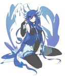 1girl blue_eyes blue_hair creatures_(company) game_freak gen_6_pokemon horns nintendo personification pokemon shikkoku_neko sitting solo xerneas