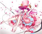 1girl ;d arm_up bangs blue_bow blue_eyes blush bow detached_sleeves dragon_tail dress elizabeth_bathory_(fate) elizabeth_bathory_(fate)_(all) eyebrows_visible_through_hair fang fate/extra fate/extra_ccc fate_(series) flower gradient gradient_background grey_background hair_between_eyes hat high_heels highres holding holding_microphone long_hair long_sleeves microphone microphone_stand one_eye_closed open_mouth outstretched_arm petals pink_dress pink_flower pink_hair pink_hat pink_rose pointy_ears rose sena_tea29 shoes smile solo spiked_footwear spikes stiletto_heels striped tail tail_bow tail_flower top_hat vertical-striped_hat vertical_stripes very_long_hair white_background white_footwear