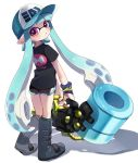 1girl aqua_hair aqua_hat bangs baseball_cap black_footwear black_shirt black_shorts blunt_bangs boots commentary_request domino_mask full_body gym_shorts hat heavy_splatling_(splatoon) holding holding_weapon inkling inkling_(language) knee_boots logo long_hair looking_at_viewer looking_back maco_spl mask nintendo parted_lips pointy_ears print_shirt shirt shorts simple_background slosher_(splatoon) splatoon splatoon_1 standing tentacle_hair violet_eyes weapon white_background wristband