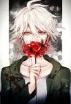 1boy ahoge collarbone danganronpa eyebrows_visible_through_hair floating_hair flower green_jacket hair_between_eyes holding holding_flower hood hooded_jacket jacket komaeda_nagito male_focus open_clothes open_jacket red_flower shirt silver_hair solo super_danganronpa_2 upper_body white_shirt yellow_eyes z-epto_(chat-noir86)