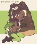 1girl bamboo_shoot black_footwear black_gloves black_hair black_shorts boots cephalopod_eyes closed_mouth commentary cropped_vest dark_skin domino_mask fingerless_gloves full_body gloves gomi_(kaiwaresan44) gradient_hair green_background green_hair green_legwear holding iida_(splatoon) letterboxed long_hair looking_at_viewer makeup mascara mask multicolored multicolored_hair multicolored_skin nintendo octarian oversized_object pantyhose pantyhose_under_shorts pink_pupils romaji shorts sitting smile solo splatoon splatoon_2 suction_cups tentacle_hair yokozuwari zipper zipper_pull_tab