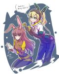 2girls animal_ears blonde_hair book brown_eyes brown_hair bunny_girl character_request copyright_request covered green_eyes highres iesupa long_hair multiple_girls ponytail rabbit_ears reading rwby velvet_scarlatina