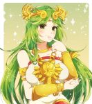 1girl blush breasts dress female green_eyes green_hair indisk_irio jewelry kid_icarus long_hair looking_at_viewer matching_hair/eyes necklace nintendo palutena simple_background smile solo tiara very_long_hair