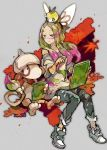 1girl blonde_hair blue_pants closed_mouth creatures_(company) denim game_freak gen_2_pokemon gen_7_pokemon grey_eyes holding jeans kantarou_(8kan) leaf long_hair looking_to_the_side matsurika_(pokemon) nintendo paint_splatter pants pointing pokemon pokemon_(creature) pokemon_(game) pokemon_on_head pokemon_sm ribombee short_sleeves sitting sketchbook smeargle torn_clothes torn_jeans torn_pants trial_captain