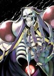 ainz_ooal_gown amano_don black_background bone cape clenched_teeth cloak commentary_request from_below gem glowing glowing_eyes highres hood hooded_cloak overlord_(maruyama) skeleton skull teeth