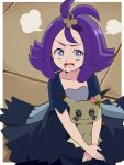 1girl acerola_(pokemon) creatures_(company) cu-sith dress elite_four flipped_hair game_freak gen_7_pokemon hair_ornament mimikyu multicolored multicolored_clothes multicolored_dress nintendo open_mouth pokemon pokemon_(creature) pokemon_(game) pokemon_sm purple_hair short_hair stitches trial_captain violet_eyes