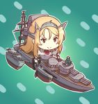 :> blonde_hair blue_background blush_stickers cannon chibi edwin_(cyberdark_impacts) eyebrows_visible_through_hair hair_ornament kantai_collection mast military military_vehicle nelson_(kantai_collection) non-human_admiral_(kantai_collection) rigging ship tidehunter turret warship watercraft