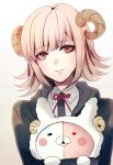 1girl black_jacket danganronpa eyebrows_visible_through_hair grey_shirt holding horns jacket light_brown_hair looking_at_viewer monomi_(danganronpa) nanami_chiaki neck_ribbon red_eyes red_ribbon ribbon shirt short_hair smile solo super_danganronpa_2 upper_body white_background z-epto_(chat-noir86)