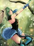 1girl absurdres ahoge animal_ears armlet atalanta_(fate) blonde_hair blue_skirt bow_(weapon) breasts cat_ears cat_tail choker fate/apocrypha fate_(series) floating_hair from_side gauntlets green_eyes green_hair hair_ornament head_tilt highres holding holding_bow_(weapon) holding_weapon index_finger_raised long_hair looking_at_viewer miniskirt multicolored_hair nekobell parted_lips pleated_skirt skirt sleeveless small_breasts solo strapless tail thigh-highs two-tone_hair weapon