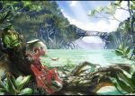 1boy bare_arms bare_legs bare_shoulders barefoot bayashiko blue_sky brown_eyes clouds commentary_request eating fish grey_hair hair_between_eyes horizon jewelry kappa looking_at_viewer male_focus mangrove nature necklace ocean original ponytail river scenery signature sitting sky solo tree
