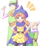 1girl alena_(dq4) breasts brey cape clift closed_mouth commentary_request curly_hair dragon_quest dragon_quest_iv gloves hat long_hair looking_at_viewer multiple_boys oigen_(artist) orange_hair pantyhose skirt yellow_skirt