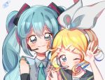 2girls aqua_eyes aqua_hair blonde_hair blush bow collared_shirt grey_shirt hair_between_eyes hair_bow hair_ornament hairclip hand_up hatsune_miku headband height_difference kagamine_rin long_hair looking_at_viewer microphone multiple_girls necktie one_eye_closed sailor_collar shirt short_hair simple_background sleeveless smile twintails upper_body vocaloid white_background white_bow yalmyu