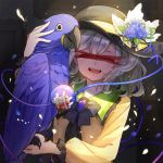 1girl ^_^ animal bandaid bangs bird black_bow black_hat black_neckwear blood blue_flower blue_rose bow bowtie brooch censored closed_eyes closed_eyes commentary_request eyeball fangs flower frilled_shirt_collar frills hair_between_eyes hand_up hat hat_flower holding holding_animal hyacinth_macaw identity_censor jewelry komeiji_koishi long_sleeves macaw musical_note musical_note_print open_mouth parrot petals puffy_sleeves rose shirt short_hair silver_hair sindre smile solo sparkle tears third_eye touhou upper_body white_flower yellow_shirt