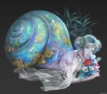 1girl bare_shoulders black_background blue_eyes bouquet breasts double_bun flower forehead_jewel full_body green_hair hair_flower hair_ornament holding holding_bouquet holding_flower jdori looking_at_viewer lying medium_breasts monster_girl on_stomach original pale_skin plant see-through shell simple_background snail snail_shell solo