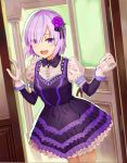 1girl :d black_ribbon cowboy_shot detached_sleeves dress eyebrows_visible_through_hair eyes_visible_through_hair fate/grand_order fate_(series) flower frilled_dress frills gloves hair_flower hair_ornament hair_over_one_eye hair_ribbon indoors mash_kyrielight open_door open_mouth purple_dress purple_flower purple_hair purple_rose ribbon rose shiny shiny_hair short_dress short_hair short_sleeves smile solo standing violet_eyes wgdnmbdflrykqoq white_gloves
