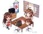4girls ahoge chest_of_drawers chibi commentary_request cup double_bun food fruit hanging_scroll haruna_(kantai_collection) headgear hiei_(kantai_collection) highres ice_cream kantai_collection kirishima_(kantai_collection) kocona kongou_(kantai_collection) multiple_girls nontraditional_miko open_mouth scroll sliding_doors table teacup television twitter_username watermelon