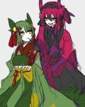 2girls black_gloves black_hair creatures_(company) game_freak gen_5_pokemon gloves gradient_hair horns in_mouth insect_girl japanese_clothes kimono multicolored_hair multiple_girls nintendo personification pokemon redhead scolipede serperior shikkoku_neko yellow_eyes