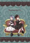 2girls black_dress blue_hair bow brown_eyes character_name dress funami_yui furutani_himawari gothic gothic_lolita hairband lolita_fashion lolita_hairband mearian multiple_girls yuru_yuri