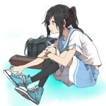 bag black_hair black_legwear blue_eyes blue_footwear blue_sailor_collar blue_skirt blue_sneakers commentary_request full_body hibike!_euphonium kasaki_nozomi long_hair pleated_skirt ponytail ree_(re-19) sailor_collar school_uniform serafuku shoes sitting skirt sneakers watch watch white_background