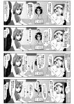 3girls 4koma adapted_costume ahoge animal_ears bare_shoulders blush bracelet carrot_necklace cat_ears chair chen clock comic detached_sleeves enami_hakase flandre_scarlet greyscale hair_over_one_eye hat highres inaba_tewi jewelry microphone monochrome multiple_girls open_mouth rabbit_ears short_hair side_ponytail single_earring table touhou translation_request