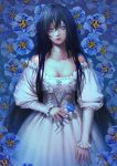 1girl bare_shoulders black_hair blue_background blue_eyes blue_flower breasts cleavage dress floral_background flower hair_between_eyes holding holding_flower jdori long_hair long_sleeves looking_at_viewer original puffy_long_sleeves puffy_sleeves shadow solo standing white_dress