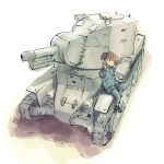 1girl ankle_boots bangs blue_footwear blue_jacket blue_pants blue_skirt blunt_bangs boots bt-42 closed_mouth commentary_request girls_und_panzer ground_vehicle jacket keizoku_military_uniform leaning_to_the_side long_sleeves looking_at_viewer mikko_(girls_und_panzer) military military_uniform military_vehicle miniskirt motor_vehicle pants pants_rolled_up pants_under_skirt partial_commentary pleated_skirt raglan_sleeves red_eyes redhead short_hair short_twintails single_vertical_stripe sitting skirt smile solo tank track_jacket track_pants twintails uniform w yasushi