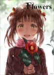 1girl :d amami_haruka blush brown_coat brown_hair chan1moon coat copyright_name eyebrows_visible_through_hair flower hair_ribbon highres holding holding_flower idolmaster idolmaster_million_live! looking_at_viewer open_mouth pink_scarf red_flower red_ribbon ribbon scarf short_hair_with_long_locks sidelocks smile solo upper_body yellow_eyes