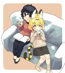 2girls alternate_costume animal_ears black_hair blonde_hair blue_eyes blush book casual closed_eyes commentary_request contemporary couch cuddling cup eyebrows_visible_through_hair flats highres holding holding_cup hood hoodie initsukkii kaban_(kemono_friends) kemono_friends long_sleeves mug multicolored_hair multiple_girls pants serval_(kemono_friends) serval_ears serval_print serval_tail short_hair sitting skirt smile socks sweater tail