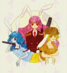 3girls alternate_costume animal_ears bangs blonde_hair blue_hair bunny_tail circle commentary_request dango dress eating floppy_ears food full_moon hat kine long_hair mallet moon moon_rabbit multiple_girls nazo_(mystery) orange_shirt purple_hair rabbit_ears red_eyes reisen_udongein_inaba ringo_(touhou) seiran_(touhou) shirt short_sleeves shorts smile tail touhou very_long_hair wagashi