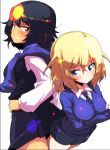 2girls andou_(girls_und_panzer) angry back-to-back bangs bc_freedom_school_uniform black_hair black_skirt black_vest blonde_hair blue_eyes blue_neckwear blue_sweater brown_eyes closed_mouth crossed_arms dark_skin diagonal_stripes dress_shirt eyebrows_visible_through_hair frown girls_und_panzer grimace hand_on_hip highres long_sleeves looking_at_another looking_at_viewer looking_back medium_hair messy_hair miniskirt multiple_girls necktie oshida_(girls_und_panzer) pleated_skirt red_neckwear school_uniform shirt simple_background skirt standing striped striped_neckwear sw sweater sweater_around_neck symbol_commentary vest white_background white_shirt wing_collar