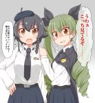 2girls anchovy anzio_school_uniform bangs belt beret black_belt black_cape black_hair black_hat black_neckwear black_ribbon black_skirt braid brown_eyes cape check_translation commentary_request cowboy_shot dou-t dress_shirt drill_hair emblem eyebrows_visible_through_hair frown girls_und_panzer gradient gradient_background green_hair grey_background hair_ribbon hand_on_another's_shoulder hat highres long_hair long_sleeves looking_at_viewer miniskirt multiple_girls necktie open_mouth pantyhose partial_commentary pepperoni_(girls_und_panzer) pleated_skirt red_eyes ribbon school_uniform shirt short_hair side_braid skirt standing sweatdrop tears translated twin_drills twintails white_legwear white_shirt