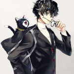 1boy amamiya_ren bag black-framed_eyewear black_eyes black_hair black_jacket blue_eyes cat glasses grey_background holding holding_eyewear houhou_(black_lack) jacket looking_at_viewer male_focus morgana_(persona_5) persona persona_5 school_bag school_uniform shiny shiny_hair shirt shujin_school_uniform simple_background solo standing upper_body white_shirt