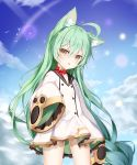 1girl absurdres ahoge akashi_(azur_lane) animal_ear_fluff animal_ears azur_lane bangs bell black_sailor_collar blue_sky blush bow braid brown_eyes cat_ears clouds collarbone commentary_request day dress eyebrows_visible_through_hair green_hair hair_between_eyes head_tilt highres jingle_bell long_hair long_sleeves looking_at_viewer outdoors parted_lips red_bow sailor_collar sailor_dress shalsqk sky sleeves_past_fingers sleeves_past_wrists solo standing very_long_hair white_dress wide_sleeves