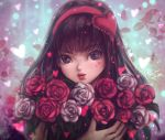 1girl bangs black_eyes commentary eyelashes flower hairband heart holding holding_flower lips looking_at_viewer original red_flower red_hairband red_rose rose signature solo white_flower white_rose