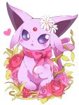 azuma_minatsu blue_eyes blush bow creatures_(company) espeon fang flower game_freak gen_2_pokemon heart looking_at_viewer nintendo no_humans open_mouth pink_bow pink_flower pink_rose pokemon pokemon_(creature) red_flower red_rose rose simple_background sparkle white_background