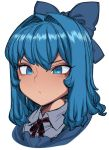 1girl blue_eyes blue_hair bow cirno close-up face hair_bow medium_hair neck_ribbon ribbon shirt simple_background solo space_jin touhou white_background