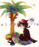 1girl aspear_berry belt_pouch black_eyes black_gloves black_hair bluk_berry braided_ponytail cheri_berry creatures_(company) game_freak gen_7_pokemon gloves hat highres moemon moro_sorano nintendo palm_tree pecha_berry personification pikipek pokemon pokemon_(creature) popplio pouch rawst_berry red_hat simple_background squatting sun thought_bubble tree white_background