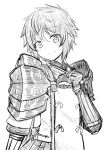 1girl armor blush kayama_kenji long_hair looking_at_viewer lora_(xenoblade_2) monochrome nintendo parted_lips pauldrons short_hair simple_background smile solo xenoblade_(series) xenoblade_2 xenoblade_2:_ogon_no_kuri_ira