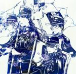 belt belt_buckle buckle closed_mouth commentary_request eyepatch flag hat hiyama_kiyoteru holding kaito kamui_gakupo long_hair monochrome short_hair soga_kayoko uniform vocaloid