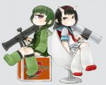 2girls bazooka black_hair black_neckwear blue_sailor_collar character_request closed_mouth commentary_request cyclops ebimomo eyebrows_visible_through_hair finger_on_trigger from_side green_hair green_legwear green_sailor_collar green_shirt green_skirt grey_background gun gundam hairband holding holding_gun holding_weapon horns long_sleeves looking_at_viewer looking_to_the_side mecha_musume multiple_girls neckerchief one-eyed personification pleated_skirt red_eyes rx-78-2 sailor_collar school_uniform serafuku shirt short_hair short_sleeves simple_background sitting skirt socks weapon white_legwear white_shirt white_skirt