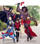 3boys 4girls ahoge archer armor armored_dress artoria_pendragon_(all) bangs berserker black_gloves black_hair black_legwear black_skirt blonde_hair blue_bodysuit blue_hair blurry bodysuit bracer cape caster cloak coat commentary_request covering_ears dark_skin dark_skinned_male depth_of_field dizi dress drum erhu faceless fate/stay_night fate_(series) gauntlets gloves hair_bun hair_ribbon hood hooded_cloak instrument lancer long_hair long_skirt long_sleeves matou_sakura meme multiple_boys multiple_girls music parody pauldrons pink_footwear pipa_(instrument) playing_instrument ponytail purple_hair purple_ribbon red_coat ribbon saber short_hair shoulder_armor skirt suona thigh-highs tohsaka_rin trench_coat trumpet trumpet_boy twintails two_side_up white_hair yaoshi_jun zettai_ryouiki